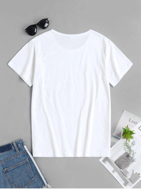 latest Ecological Slogan Graphic Short Sleeve Tee - WHITE M Mobile