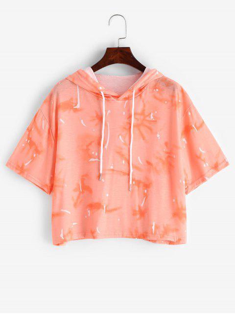巾着フード付きタイダイプリントTシャツ - オレンジ L Mobile