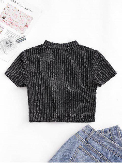 リブメタリックレースアップカットアウトTシャツ - ブラック M Mobile
