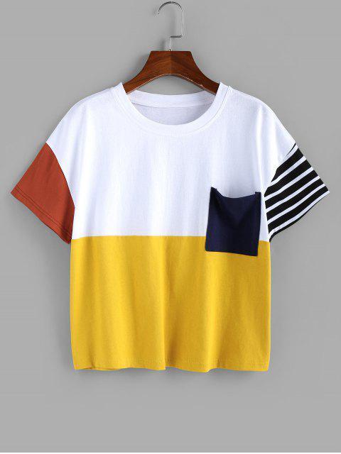 ZAFUL T-shirt en Blocs de Couleurs avec Poche - Multi-A XL Mobile