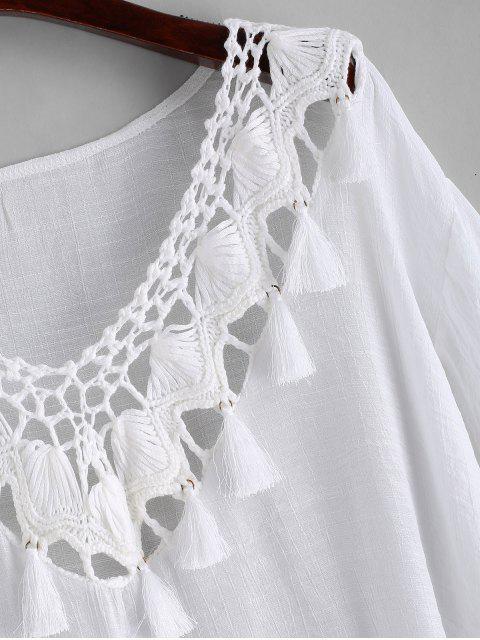 shop Crochet Panel Tassels Beach Dress - WHITE ONE SIZE Mobile