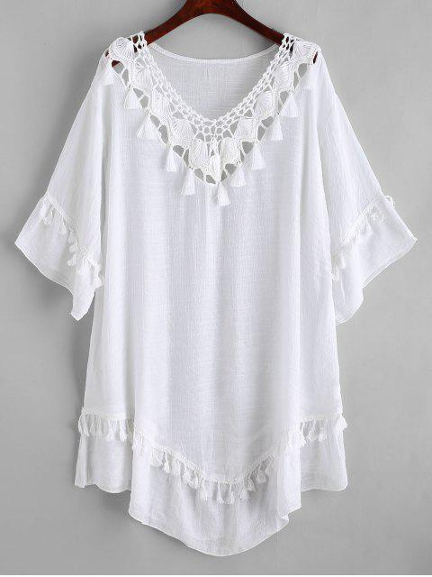 shop Crochet Panel Tassels Beach Dress - WHITE ONE SIZE Mobile