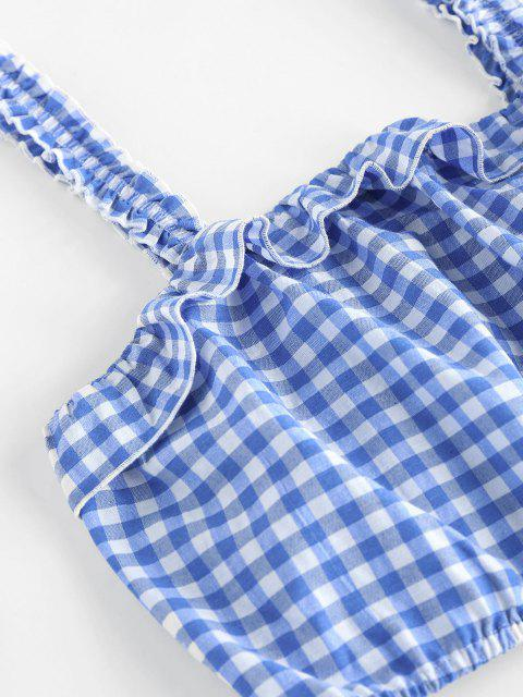 new ZAFUL Gingham Ruffle Belted Cuffed Shorts Set - DAY SKY BLUE S Mobile