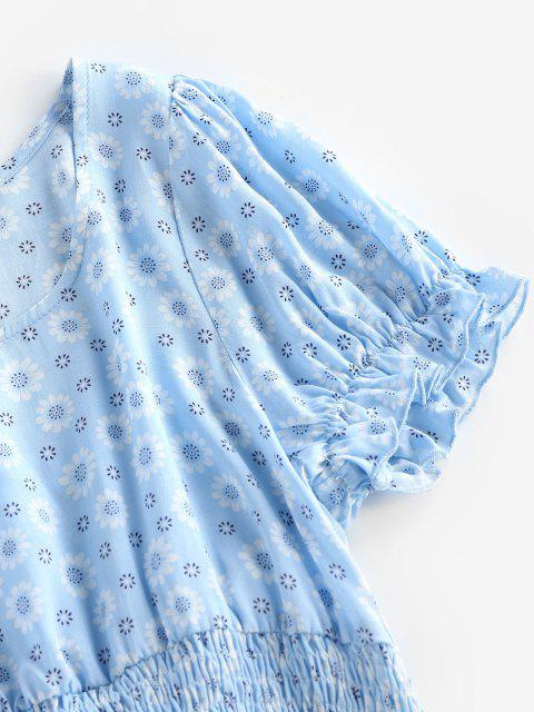 outfits ZAFUL Ditsy Print Smocked Ruffle Crop Blouse - LIGHT SKY BLUE S Mobile