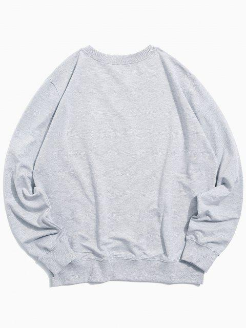 lady Helping Hands Pattern Casual Sweatshirt - LIGHT GRAY M Mobile