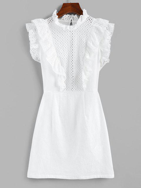 womens ZAFUL Eyelet Ruffle Neck Mini Dress - WHITE S Mobile