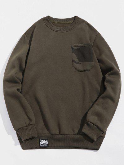 Camouflage Print Chest Pocket Fleece Sweatshirt - Army Green M