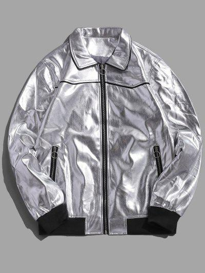 O-ring Pull Faux Leather Zip Up Jacket - Silver Xl