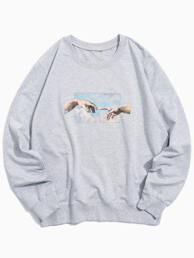 Helping Hands Pattern Casual Sweatshirt - Light Gray M