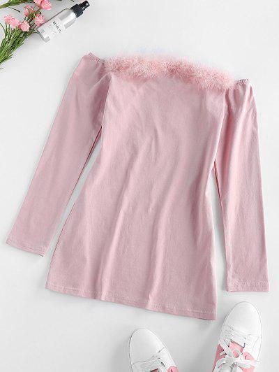 ZAFUL Faux Fur Trim Off The Shoulder Dress - Light Pink S