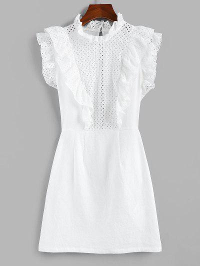 ZAFUL Eyelet Ruffle Neck Mini Dress - White M