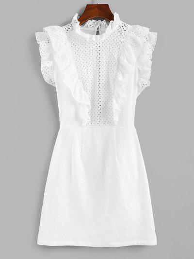 ZAFUL Eyelet Ruffle Neck Mini Dress - White S