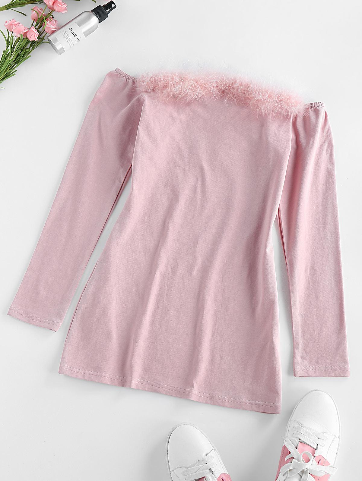 ZAFUL Faux Fur Trim Off The Shoulder Dress