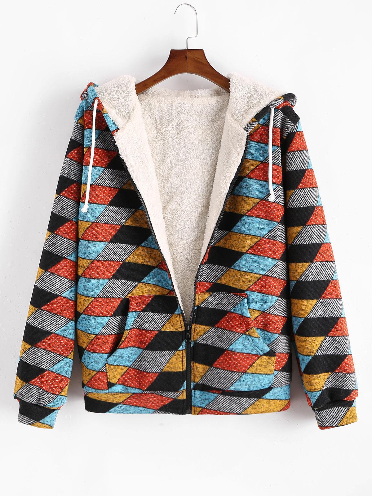Geometric Pattern Zip Up Fluffy Jacket фото