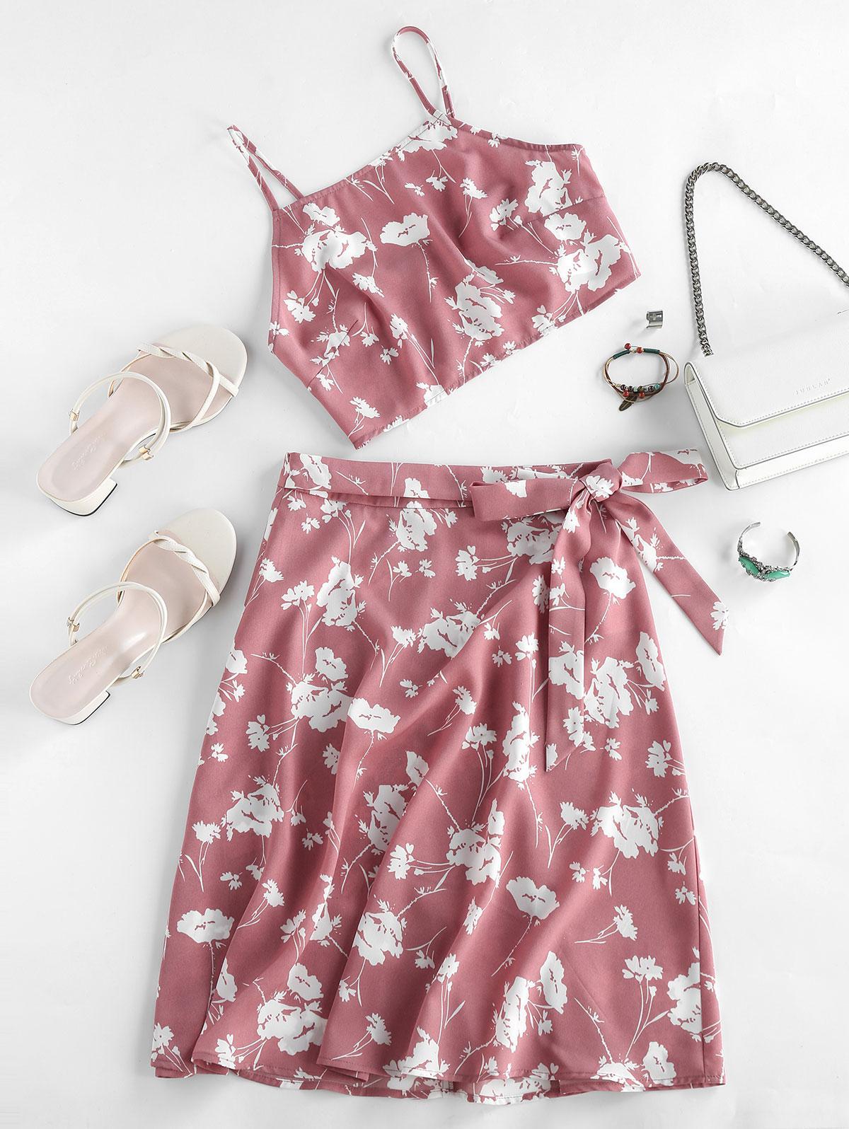 ZAFUL Flower Print Cami Tie Two Piece Skirt Set