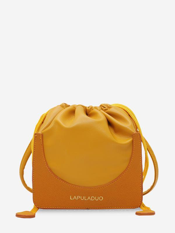 Letter Print PU Leather Drawstring Crossbody Bag thumbnail