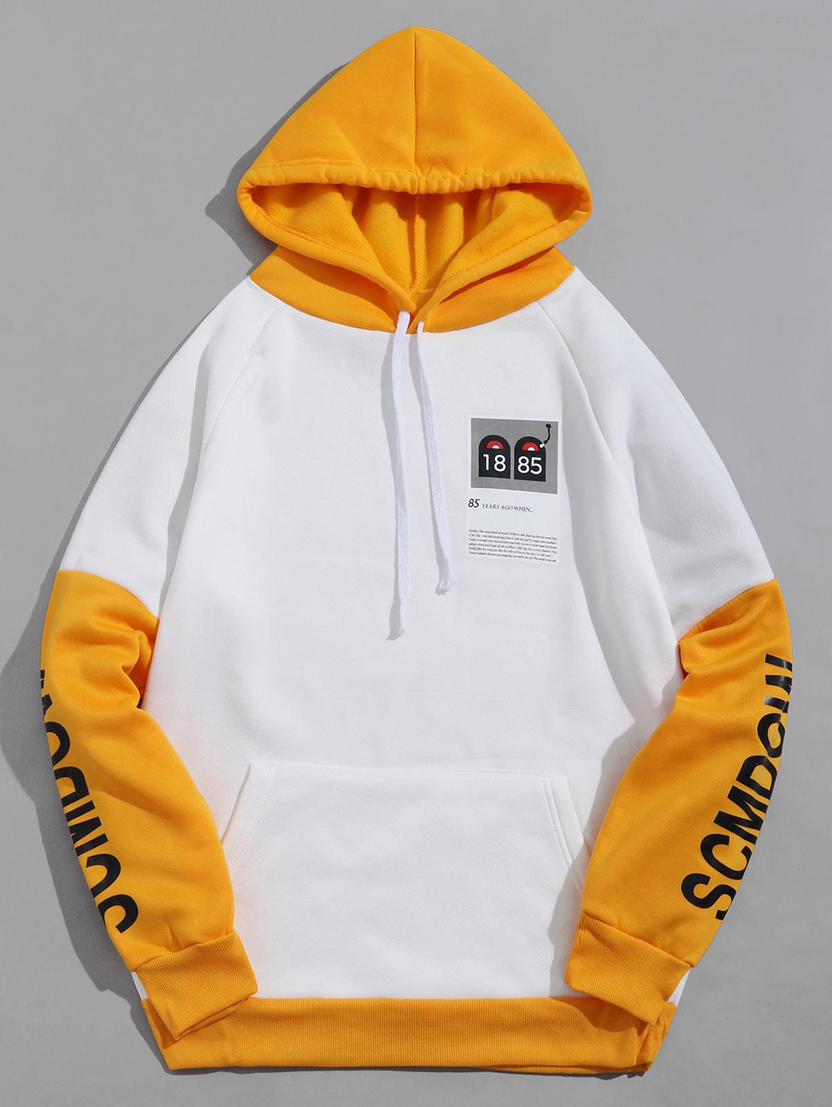 Colorblock Panel Letter Graphic Casual Fleece Hoodie фото