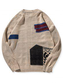 Geometric Patch Graphic Knit Sweater