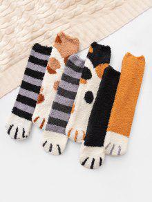 6Pairs القط القدم الصوف الجوارب مجموعة - متعددة-a