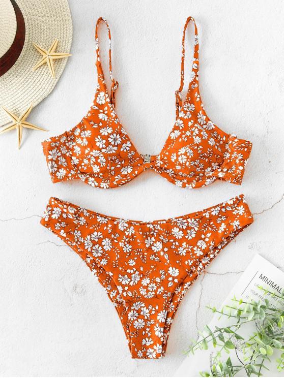 ZAFUL Ditsy Imprimare Underwire Cami Bikini Costume de baie - Multi-B S