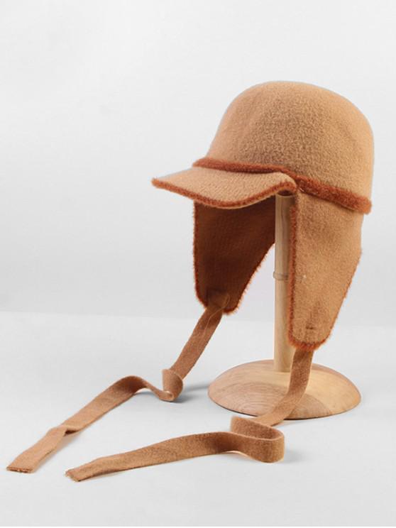 latest Ribbon Fleece Earmuff Trapper Hat - KHAKI
