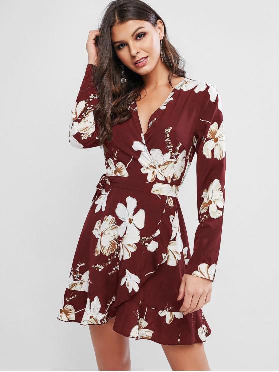 shop ZAFUL Flower Ruffle Mini Wrap Dress - RED WINE M