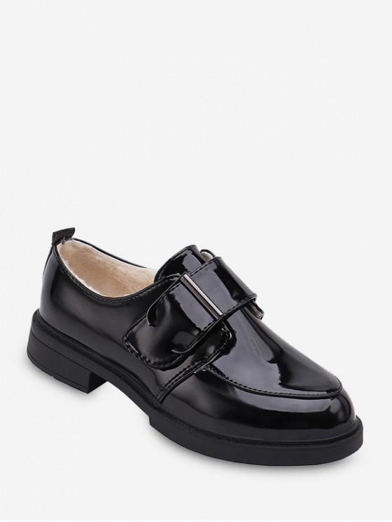 best Belted Round Toe Fleece Leather Shoes - BLACK EU 40