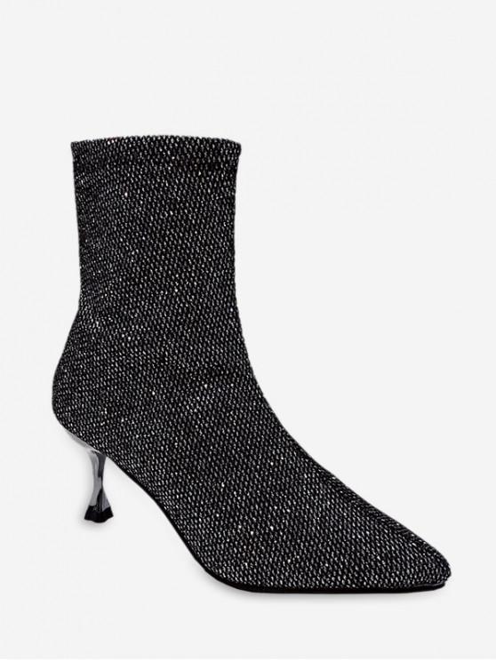 ladies Stiletto Heel Sparkly Mid-calf Boots - GRAY EU 36