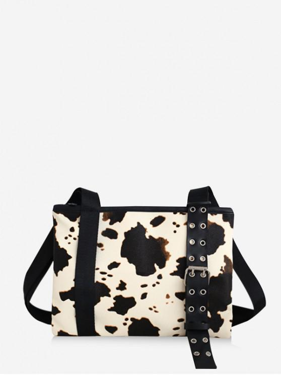 new Cow Print Leather Shoulder Bag - MILK WHITE