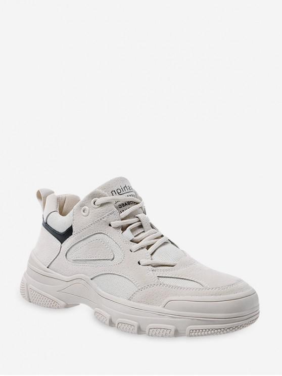 hot Letter Print Lace-up Casual Sneakers - LIGHT KHAKI EU 35