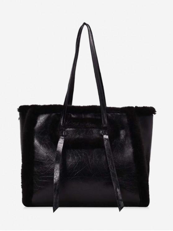 fancy Large Capacity Fuzzy Shoulder Bag - BLACK