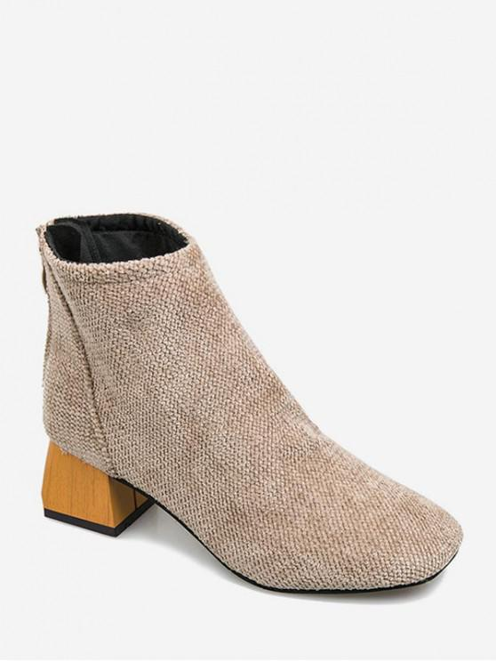 lady Square Toe Chenille Clog Heel Ankle Boots - BEIGE EU 36