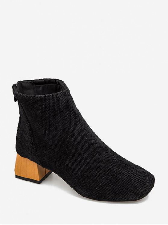 trendy Square Toe Chenille Clog Heel Ankle Boots - BLACK EU 39