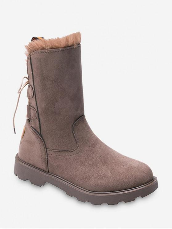 womens Back Lace Up Fleece Mid Calf Boots - KHAKI EU 35