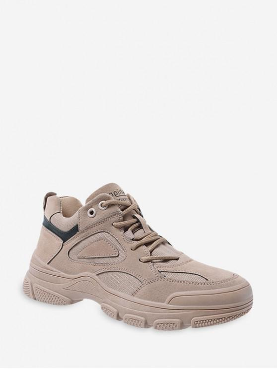 new Letter Print Lace-up Casual Sneakers - DARK KHAKI EU 36