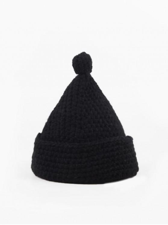 ladies Solid Winter Woolen Yarn Weaving Hat - BLACK