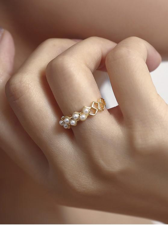 outfit Hollow Artificial Pearl Figure Ring - GOLD