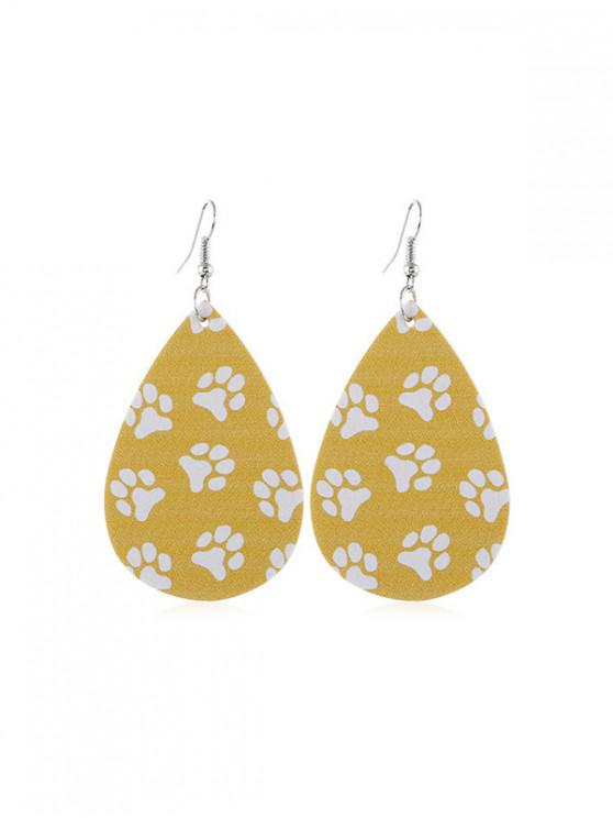 latest Cat Claw Print Water Drop Hook Earrings - YELLOW