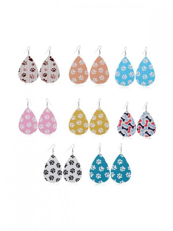 fashion 8Pairs Pet Paw Print Earrings Set - MULTI