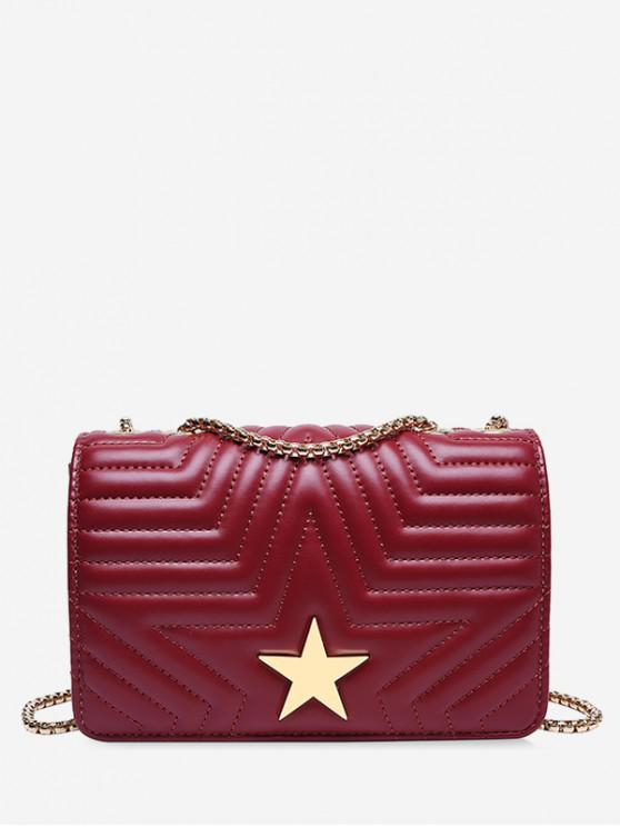 lady Star Quilted Chain Crossbody Bag - RED WINE