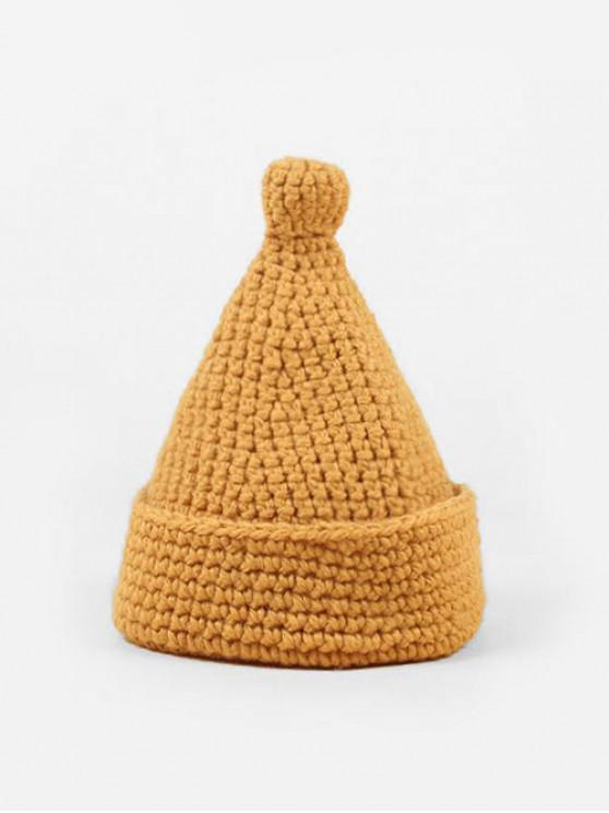 hot Solid Winter Woolen Yarn Weaving Hat - YELLOW