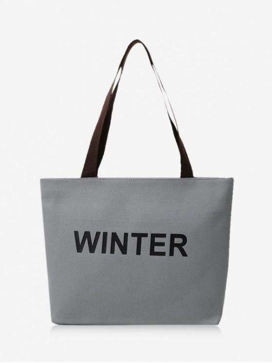 outfit Winter Graphic Large Capacity Canvas Shoulder Bag - CLOUDY GRAY