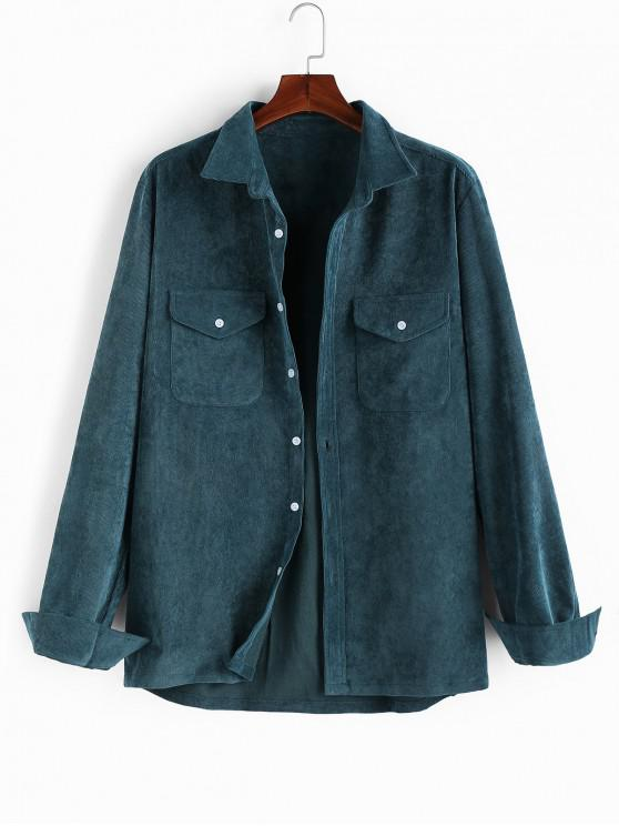 unique ZAFUL Solid Chest Pockets Button Cord Shirt - DARK GREEN 2XL