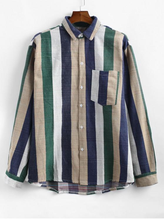 outfit Colorful Striped Print Long Sleeves Shirt - MULTI-B 4XL