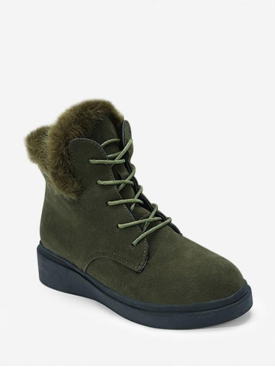 outfit Casual Solid Color Lace-up Fuzzy Boots - DARK GREEN EU 35