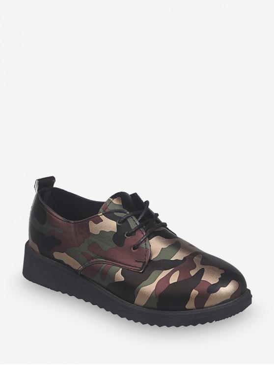 Camuflaje Imprimir Leather Lace Up Zapatos planos - Verde EU 35