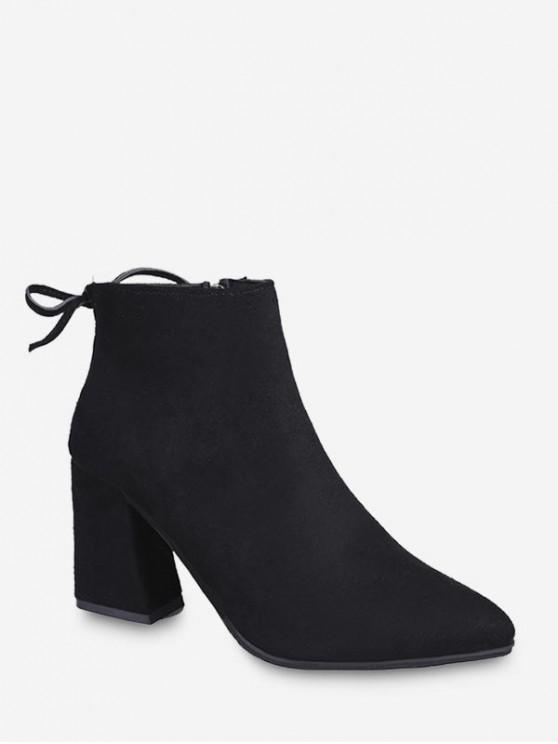 unique Solid Color Chunky Heel Ankle Boots - BLACK EU 40