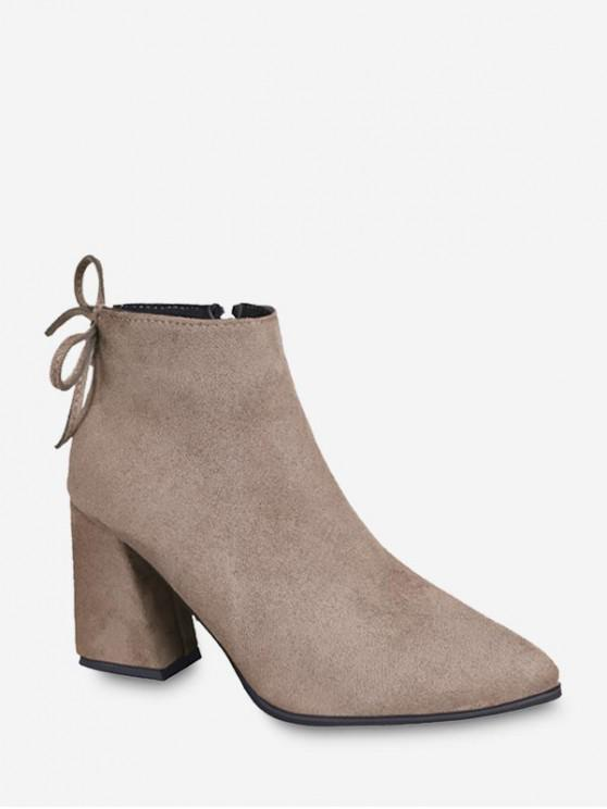 shop Solid Color Chunky Heel Ankle Boots - KHAKI EU 33