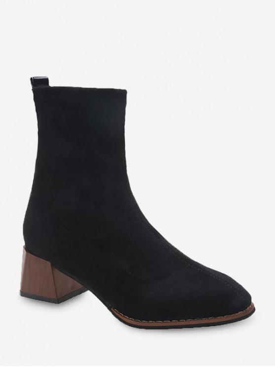 fancy Chunky Heel Suede Mid-calf Boots - BLACK EU 35