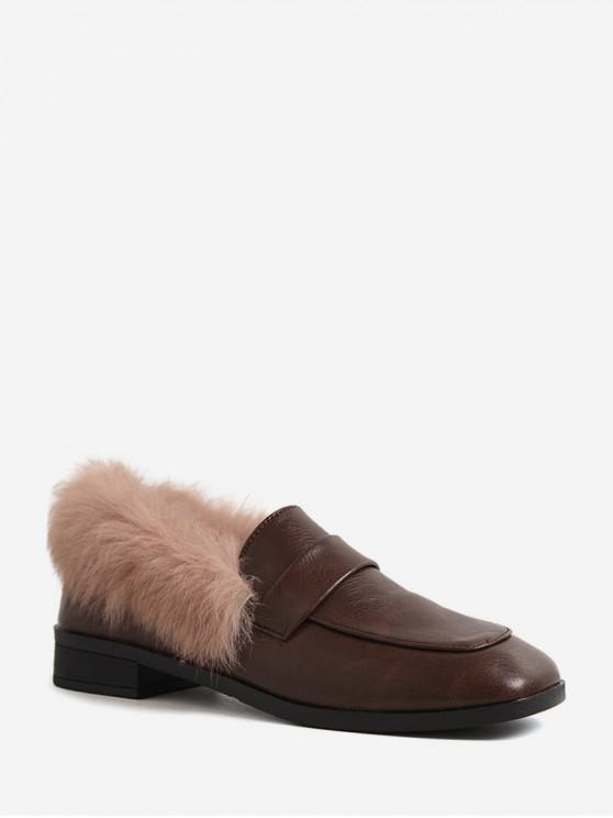 women's Fuzzy Collar Square Toe Leather Shoes - DEEP BROWN EU 38